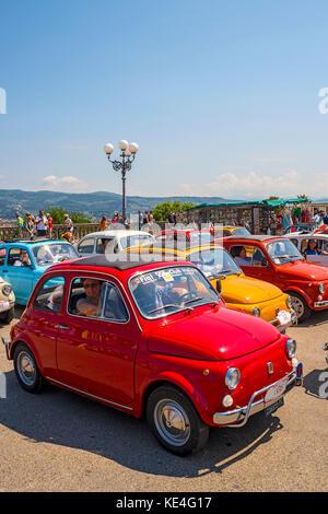 europe,italy,tuscany,italy,fiat 500,old car,vintage car,abarth,colors,rally - Stock Photo
