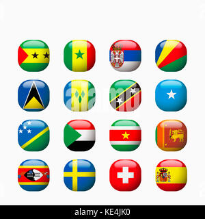 Icon set of various national flags - Stock Photo