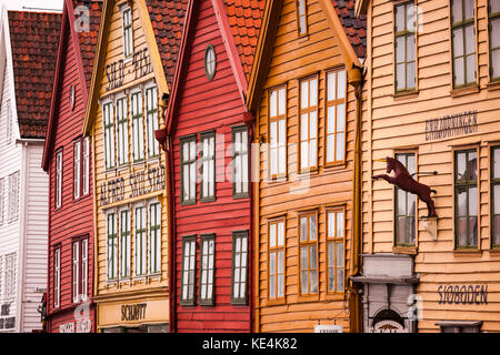 The Hanseatic commercial building frontage of Bryggen on the eastern side of the harbour in bergen - Stock Photo