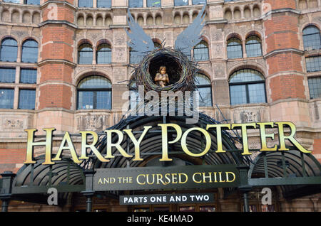 Sign promoting the Harry Potter and the Cursed Child theatre production outside the Palace Theatre, London, UK. - Stock Photo
