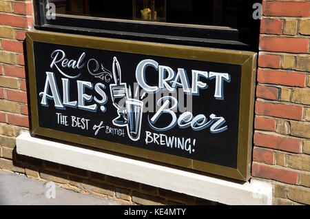 Real Craft Ales and Beer sign outside a pub, London, UK. - Stock Photo