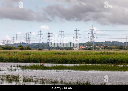 Tidal flats on the lower River Test in the Test Valley estuary into Southampton Water at Totton, Ealing and Redbridge, - Stock Photo