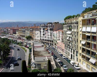Promenade des Anglais, Nice city, Cote d'Azur, France - Stock Photo