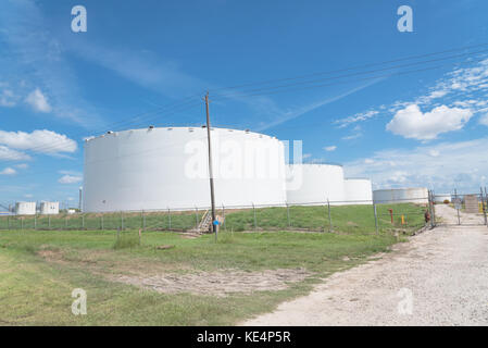 industrial fuel oil tanks oil tanks and oil refinery under blue sky in pasadena texas usa