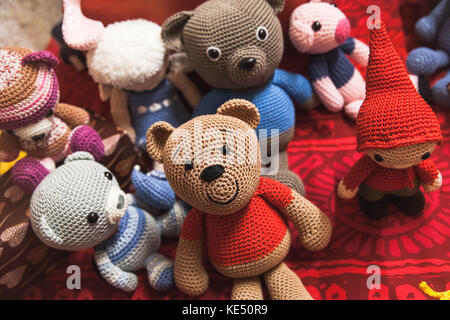 Hamina, Finland - December 13, 2014: Christmas fair in Hamina bastion, handmade knitted toys are on the counter - Stock Photo