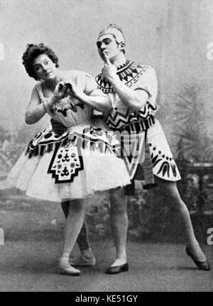 Maria Mariusovna Petipa & Sergei Gustavovich Legat - portrait of the Russian ballet dancers in 'La Fille du Pharaon'. - Stock Photo