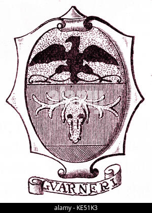 Guarneri family  - crest (or shield) of the Italian violin makers. Cremona. 17th and 18th century. - Stock Photo