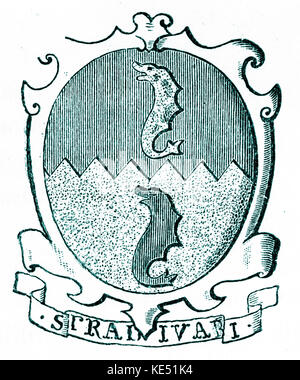 Antonio Stradivari or Antonius Stradivarius - crest (or shield) of the Italian violin maker. Strad. Cremona. AS: - Stock Photo