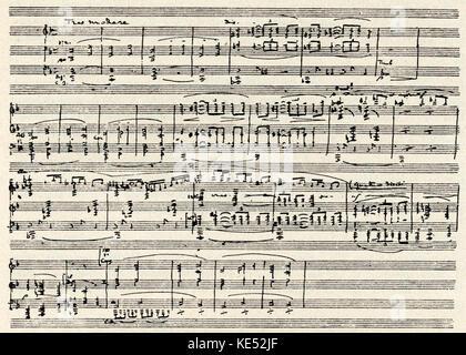 Claude Debussy 's opera 'Pelléas et Mélisande'. Hand-written score for first page.  Opéra-Comique, Paris.  Debussy, - Stock Photo