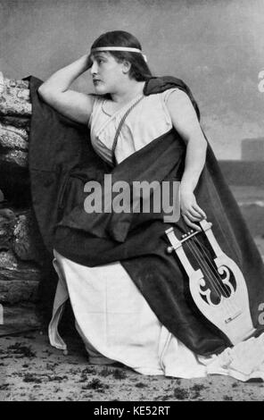 Gabrielle Krauss in role as Sapho with lyre. Austrian soprano  24 March 1842 -    6 January 1906. Opera by Jules - Stock Photo
