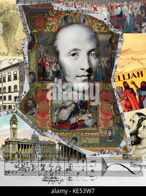 Felix Mendelssohn  collage by Oscar Vila . .  German composer, 3 February 1809 - 4 November 1847. - Stock Photo