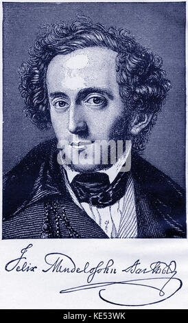 Felix Mendelssohn portrait. With signature. German composer, 1809-1847 - Stock Photo