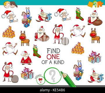 Cartoon Illustration of Find One of a Kind Educational Activity Game for Children with Santas and Christmas Characters - Stock Photo
