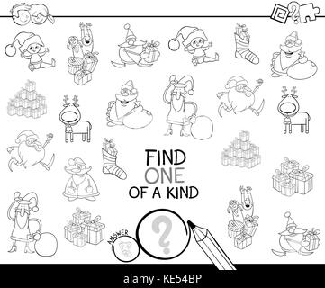 Black and White Cartoon Illustration of Find One of a Kind Educational Activity Game for Children with Santas and - Stock Photo