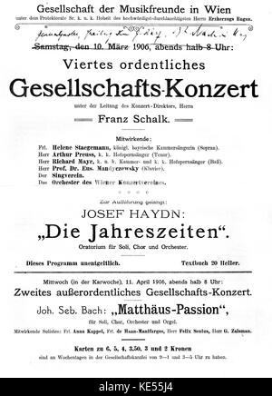Placard for Joseph Haydn 's 'Die Jahreszeiten'. / The Seasons.  Saturday 10 March, 1906. Performed at Gesellschaft - Stock Photo
