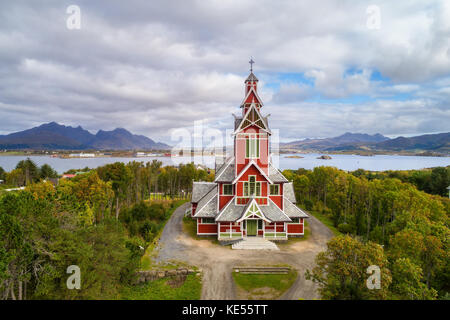 Buksnes Church in the village of Gravdal on Lofoten islands in Norway - Stock Photo
