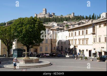 Piazza Santa Chiara and Medieval Rocca Maggiore (fortress) in Assisi, Umbria, Italy. 27 August 2017 © Wojciech Strozyk - Stock Photo
