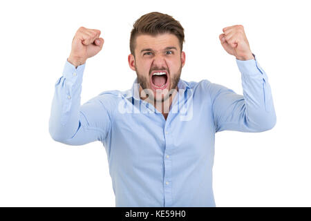Image of screaming angry young bearded emotional man standing over white wall background isolated. - Stock Photo