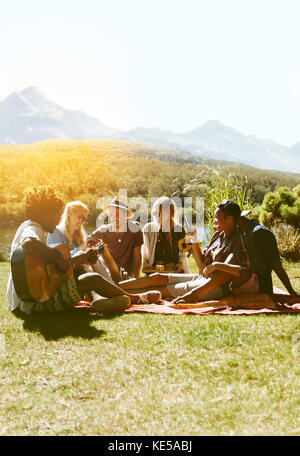 Young friends hanging out, playing guitar and enjoying picnic in sunny summer grass - Stock Photo