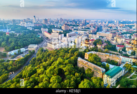 Aerial view of Khreshchatyk, European Square and Ukrainian House in Kiev, Ukraine - Stock Photo