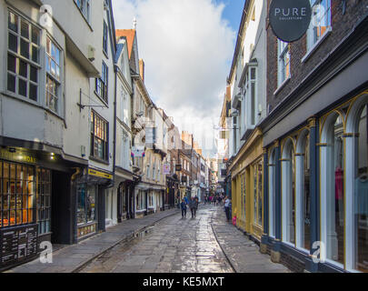Stonegate in York after a shower - Stock Photo