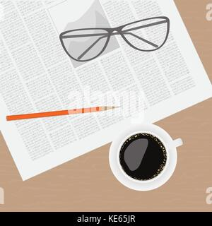 Newspaper glasses cup of coffee on a wooden table - Stock Photo