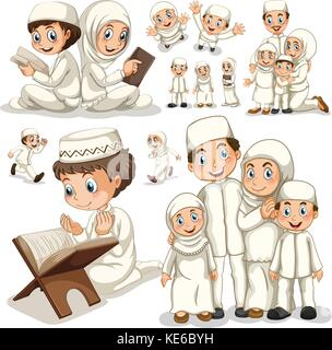 Muslim family in different actions illustration - Stock Photo