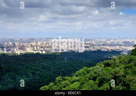 Skyline of Sao Paulo from the Serra da Cantareira Stock Photo