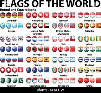 Round and square icons of flags of the world  illustration - Stock Photo