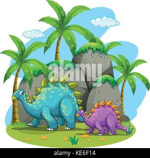 Dinosaurs walking in nature illustration - Stock Photo