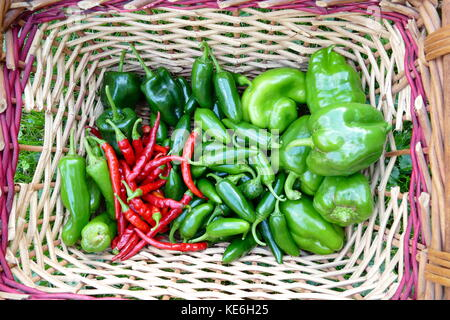 Summer vegetables from the garden in baskets - Stock Photo