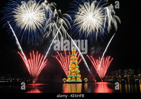 Rio de Janeiro-Brazil ,november 30, 2014 Christmas tree in Rodrigue de Freitas lagoon, in the south of the city - Stock Photo