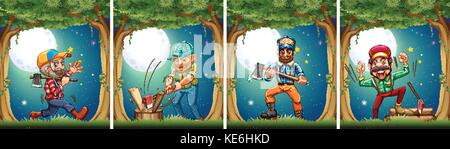 Lumbers chopping woods at night illustration - Stock Photo