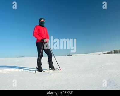 Tourist with snowshoes walk in snowy drift. Sunny freeze weather. Hiker in pink sports jacket and black trekking - Stock Photo