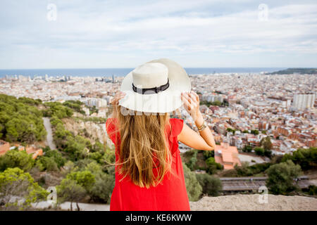 Woman traveling in Barcelona - Stock Photo