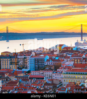 Beautiful Lisbon Old Town at sunset, Portugal - Stock Photo