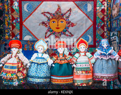 Uglich, Russia - 20 July 2017: Slavic rag doll. Handmade rag doll woman, in traditional ethnic russian costume. - Stock Photo
