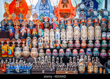 Uglich, Russia - 20 July 2017: Colorful Russian nesting dolls Matryoshka at the market. Russian Santa Claus Ded - Stock Photo