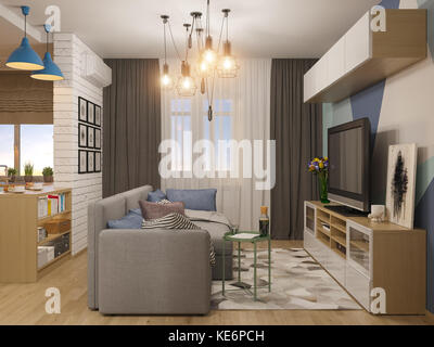 3d illustration living room and kitchen interior design. Modern studio apartment in the Scandinavian minimalist - Stock Photo