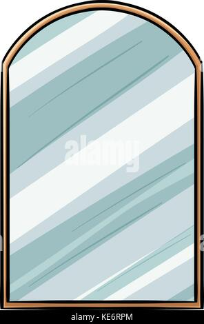 Mirror illustration with wooden frame - Stock Photo