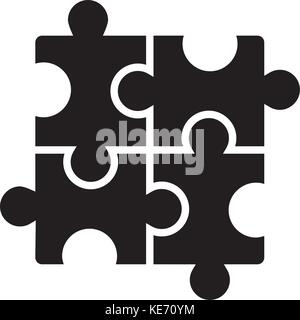 puzzle - jigsaw icon, vector illustration, black sign on isolated background - Stock Photo