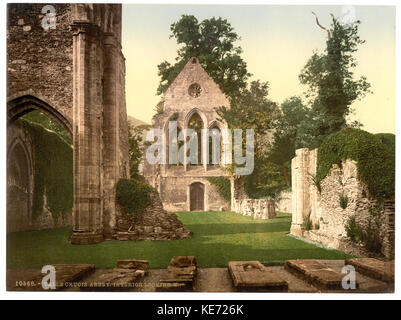 Valle Crucis Abbey, interior looking west, Llangollen, Wales LCCN2001703520 - Stock Photo