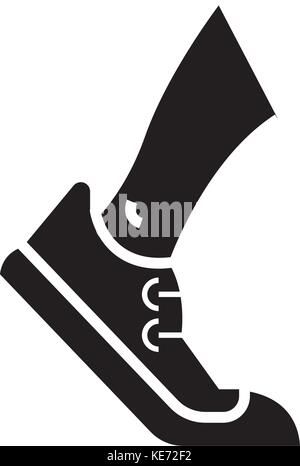 running - tracking icon, vector illustration, black sign on isolated background - Stock Photo