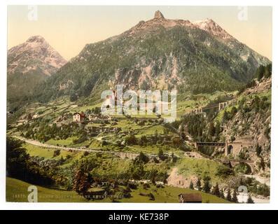 Wassen, the tunnels, St. Gotthard Railway, Switzerland LCCN2001703203 - Stock Photo