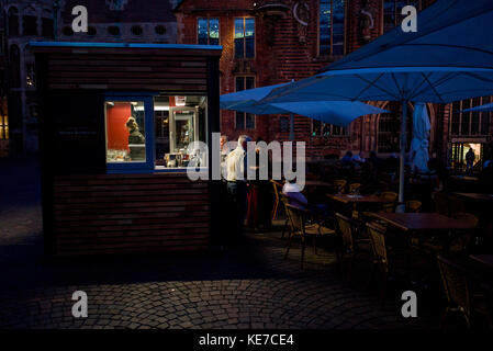 late night cafe in Altstadt, old town, Bremen Germany - Stock Photo