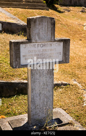 The Seychelles, Mahe, Victoria, Mont Fleuri, 1945 Commonwealth War Grave of civilian June Fordwych who served with - Stock Photo