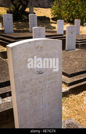 The Seychelles, Mahe, Victoria, Mont Fleuri Cemetery, Commonwealth War Grave of wireless operator Flight Sergeant - Stock Photo