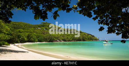 The Seychelles, Mahe, Port Launay, beach and Pointe L'Escalier, panoramic - Stock Photo