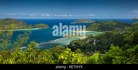 The Seychelles, Mahe, Port Glaud, elevated view of south coast, panoramic - Stock Photo