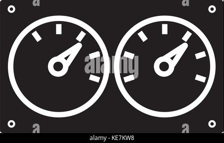 meter control dual icon, vector illustration, black sign on isolated background - Stock Photo
